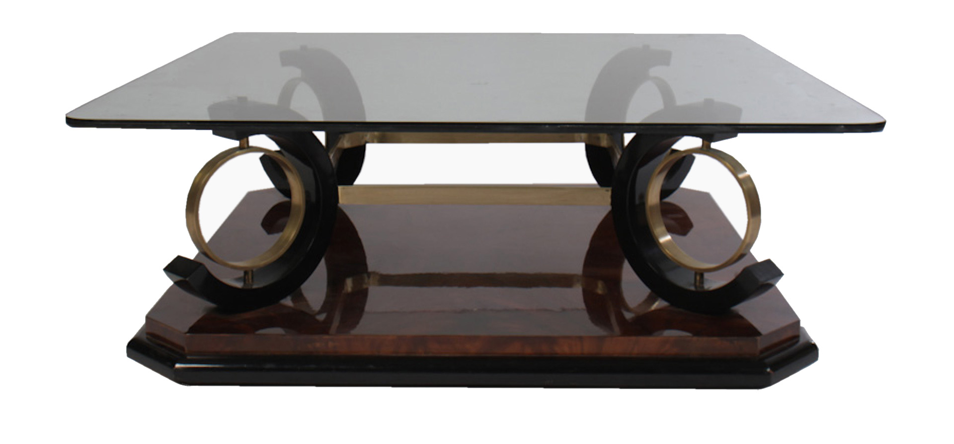 Italian mid century modern coffee table having glass top for Modern furniture coffee table