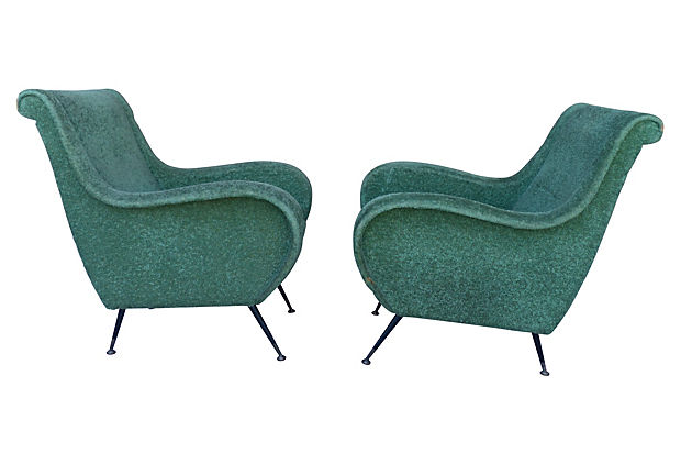 Italian Mid Century Club Chairs In The Style Of Marco Zo