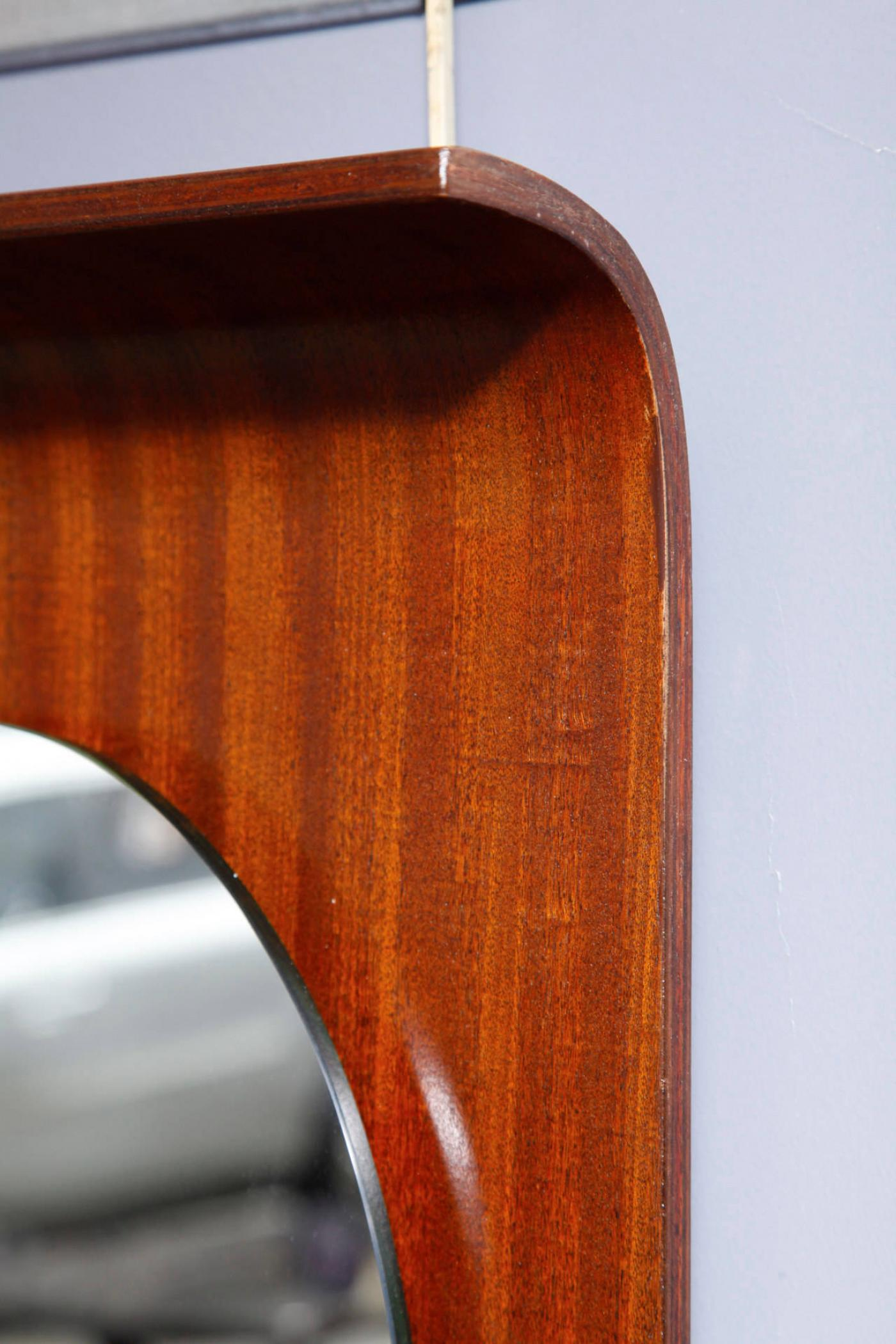 Modernist Italian Plywood Fifties Wall Mirror Modernism