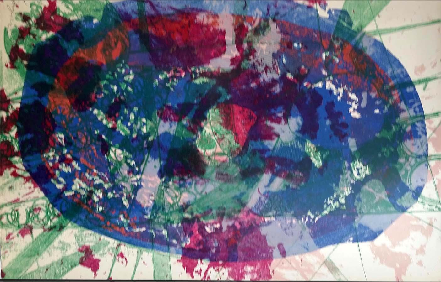 Colorful Abstract Lithograph Loren G Janzen 1972
