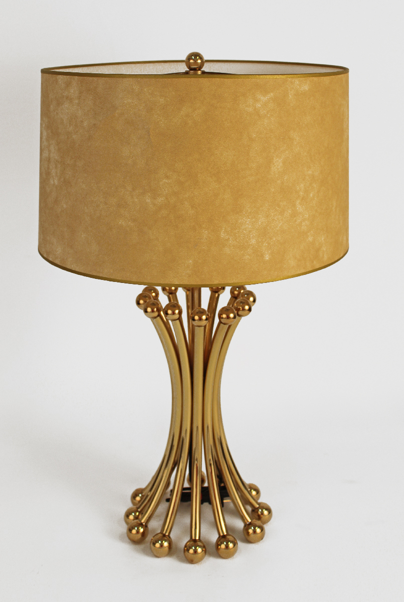 Midcentury Brass Lamp In The Style Of Jean Royere Modernism