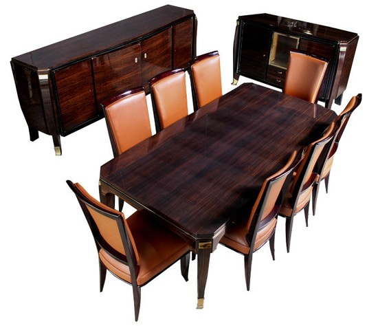 Jules Leleu Art Deco Macassar Ebony Dining Room Suite
