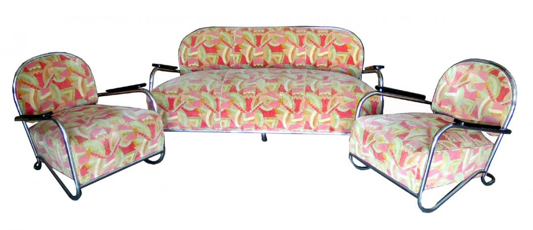 Kem Weber American Art Deco Sofa And Two Club Chairs