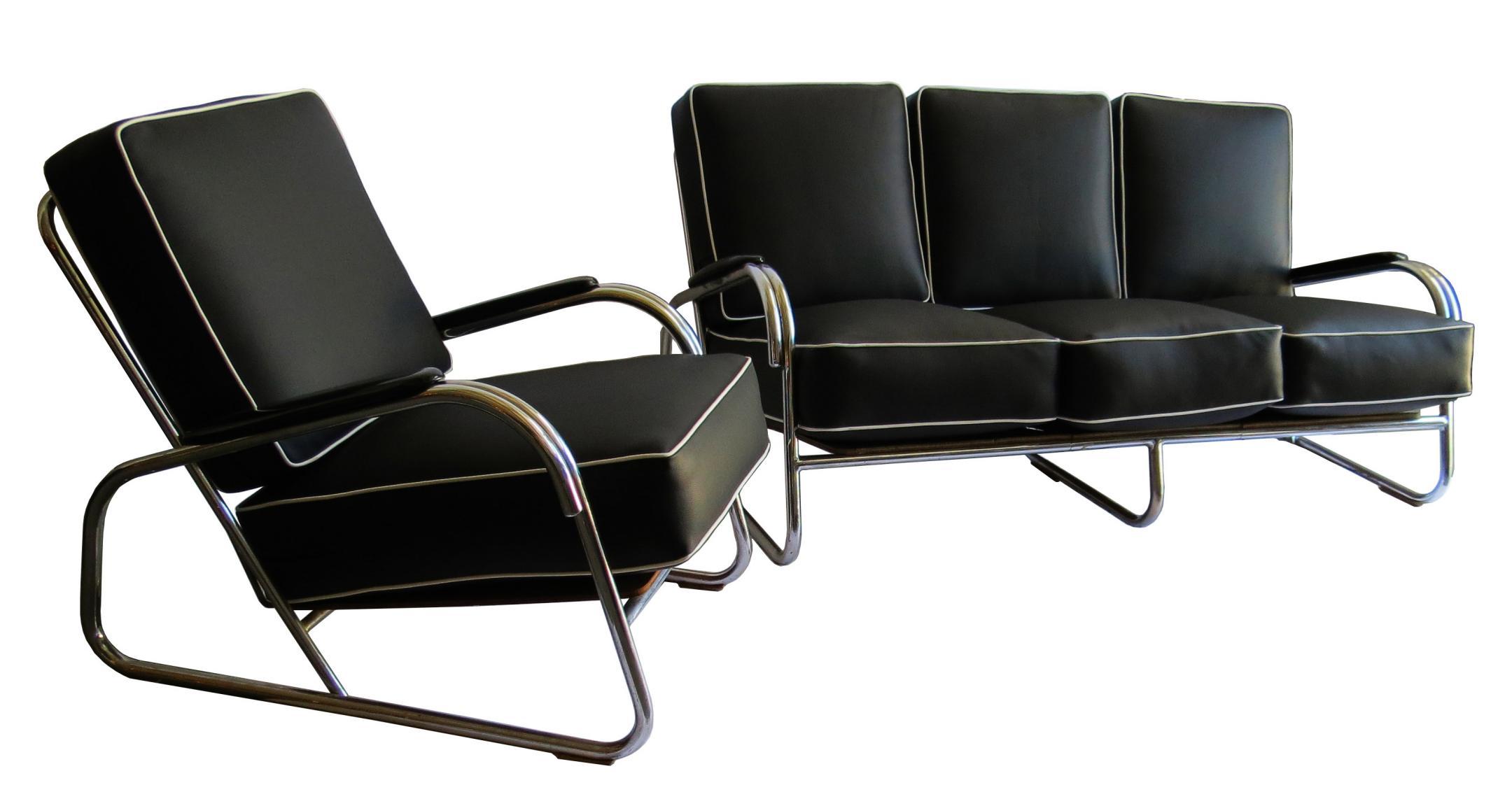 Kem Weber American Art Deco Chair And Settee Davenport