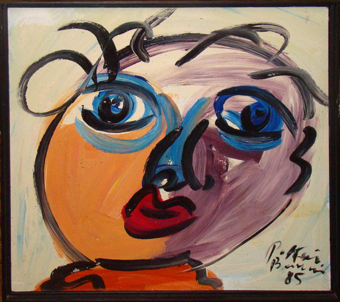 Vintage Painting Of A Abstract Face By Peter Robert Keil