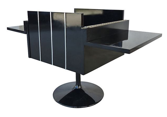 Lane Mid Century Modern Lacquered Folding Cube Cabinet Bar