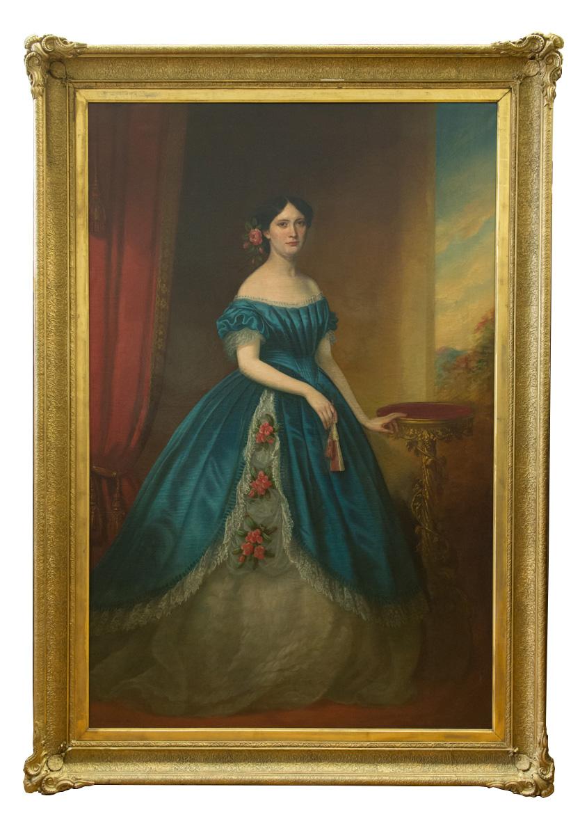 Large English Antique Oil On Canvas Full Length Portrait