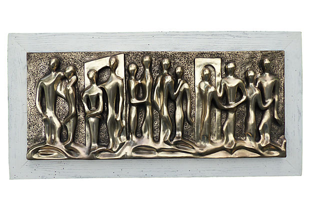 Large Mid Century Modern Bas Relief Wall Plaque W Figures