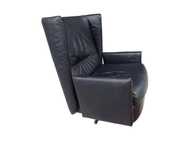 Ligne Roset Swivel French Leather Wingback Desk Chair