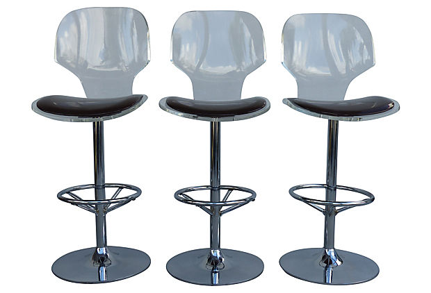 lucite swivel bar stools by hill