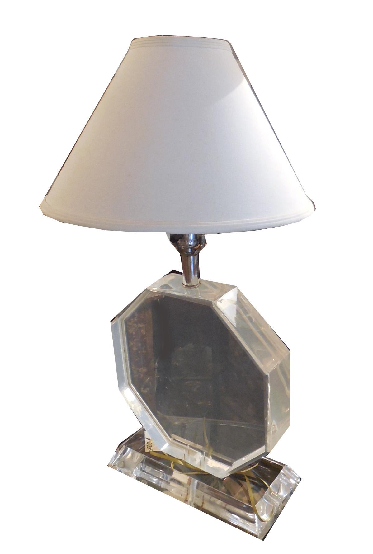 A Modern Geometric Lucite Base Table Lamp Modernism