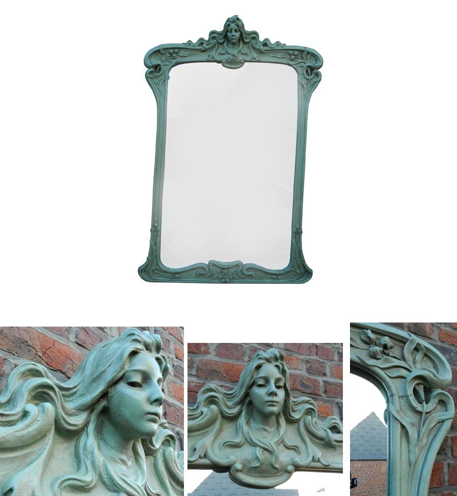 Very tall wood and plaster art nouveau mirror modernism for Miroir art nouveau