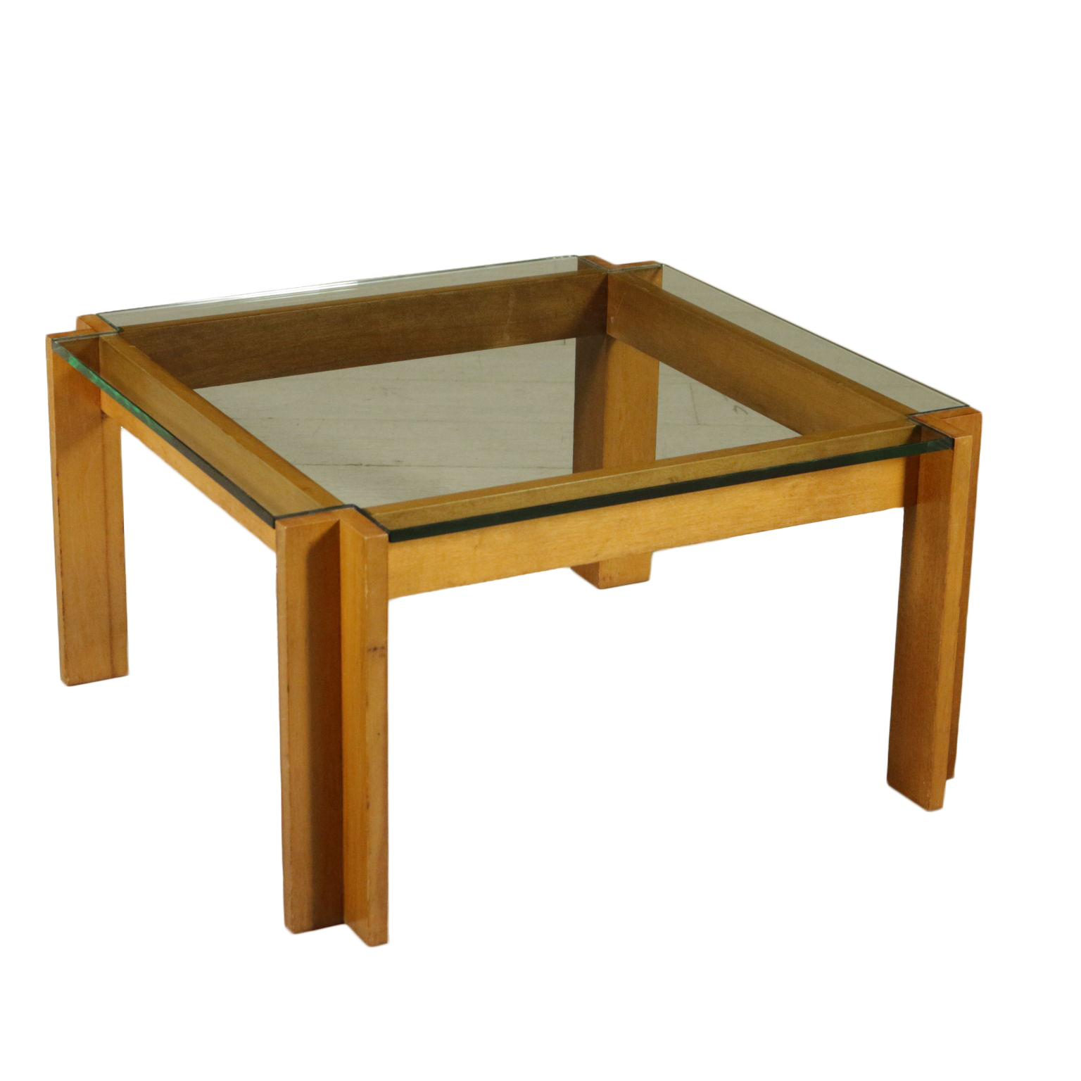 Coffee Table By Renato Forti Beech Glass Vintage Italy