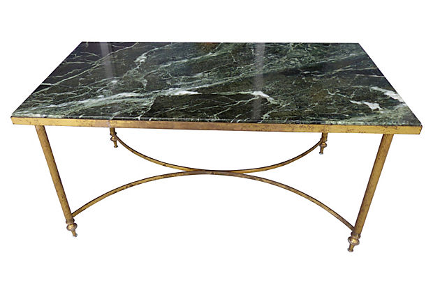Maison Jansen Style Marble Brass Coffee Table Modernism