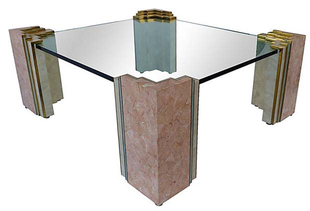 maitland-smith style tessellated stone & brass coffee table