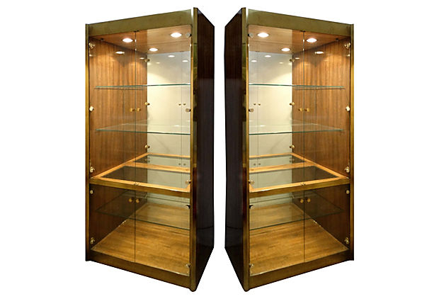 Pair Of Mastercraft Zebrawood Display Cabinets
