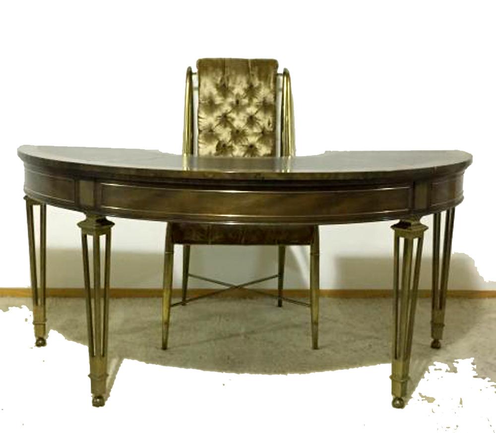 Rare Brass Amp Burl Mastercraft Demilune Desk Amp Chair