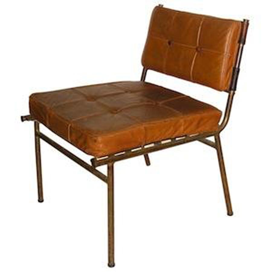 mathieu mategot leather and brass chair french design modernism. Black Bedroom Furniture Sets. Home Design Ideas