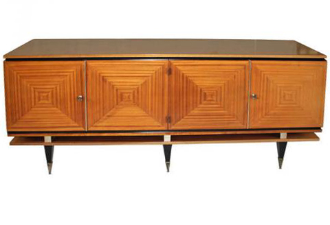 French Art Deco Blonde Mahogany Buffet Style Maxime Old Modernism