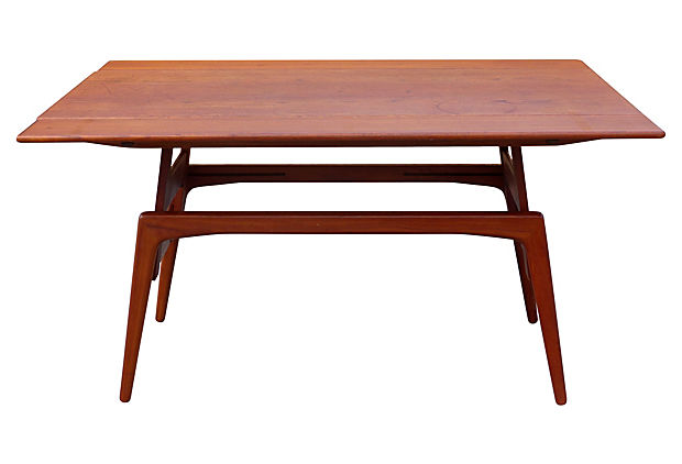 Metamorphic Danish Modern Coffee Table Converts To Dining