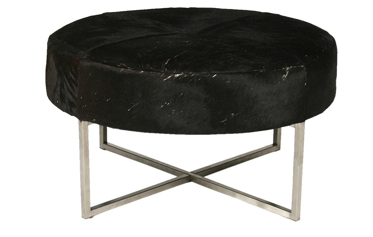 a mid century modern cow hide upholstered round bench  modernism - a mid century modern cow hide upholstered round bench