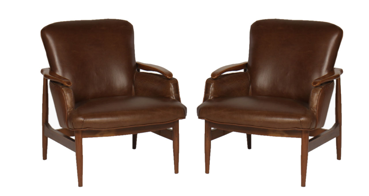Pair of mid century modern leather club chairs modernism for Mid century modern leather chairs