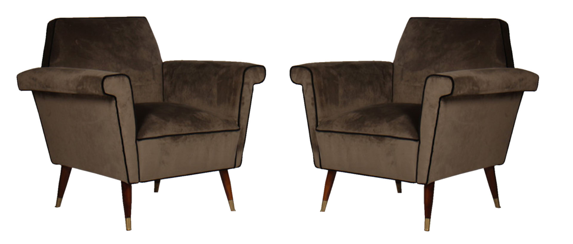 A pair of mid century modern upholstered club chairs 1960 for Mid century modern upholstered chair