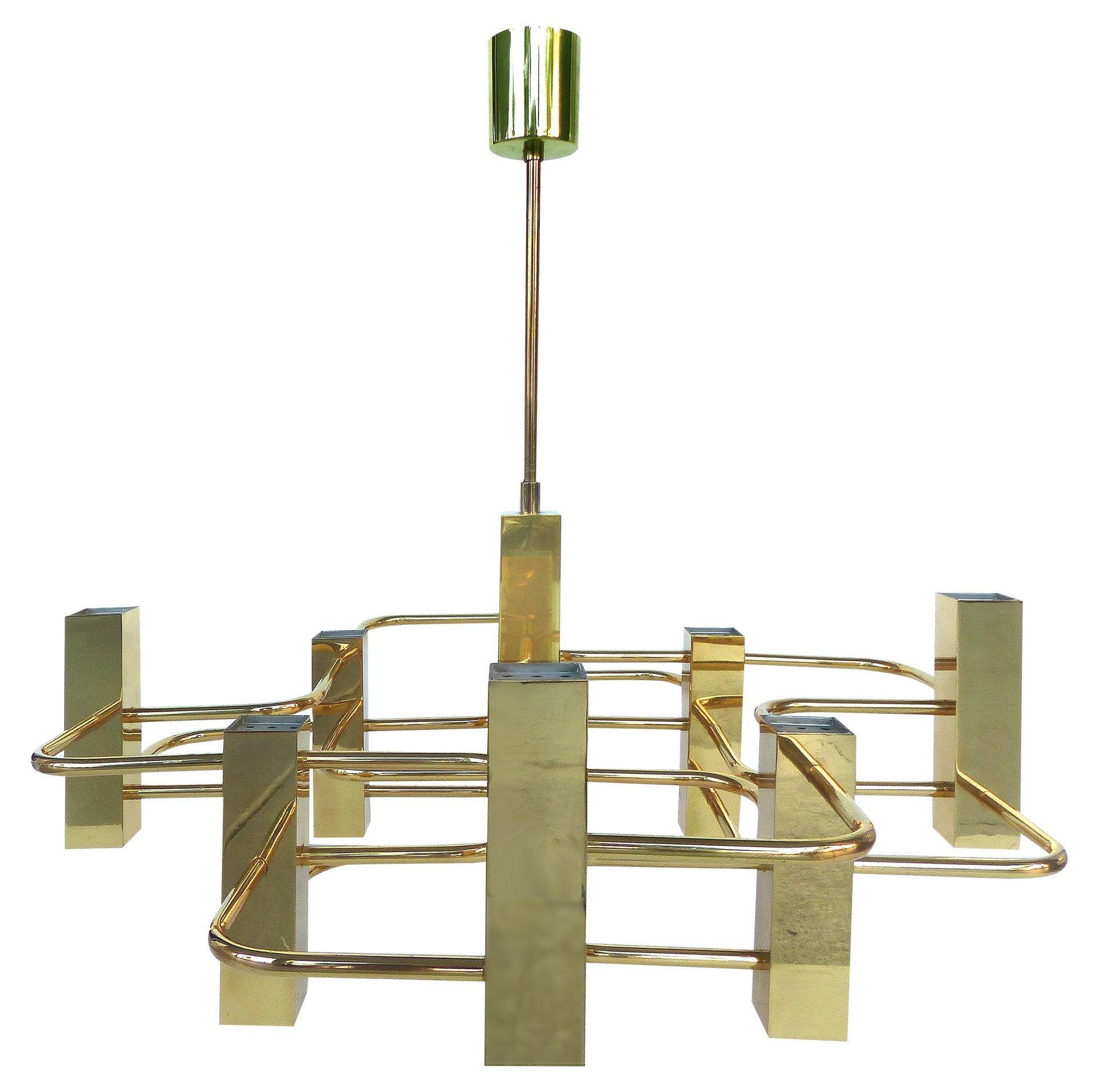 Gaetano sciolari brass mid century modern chandelier modernism gaetano sciolari brass mid century modern chandelier mozeypictures Choice Image