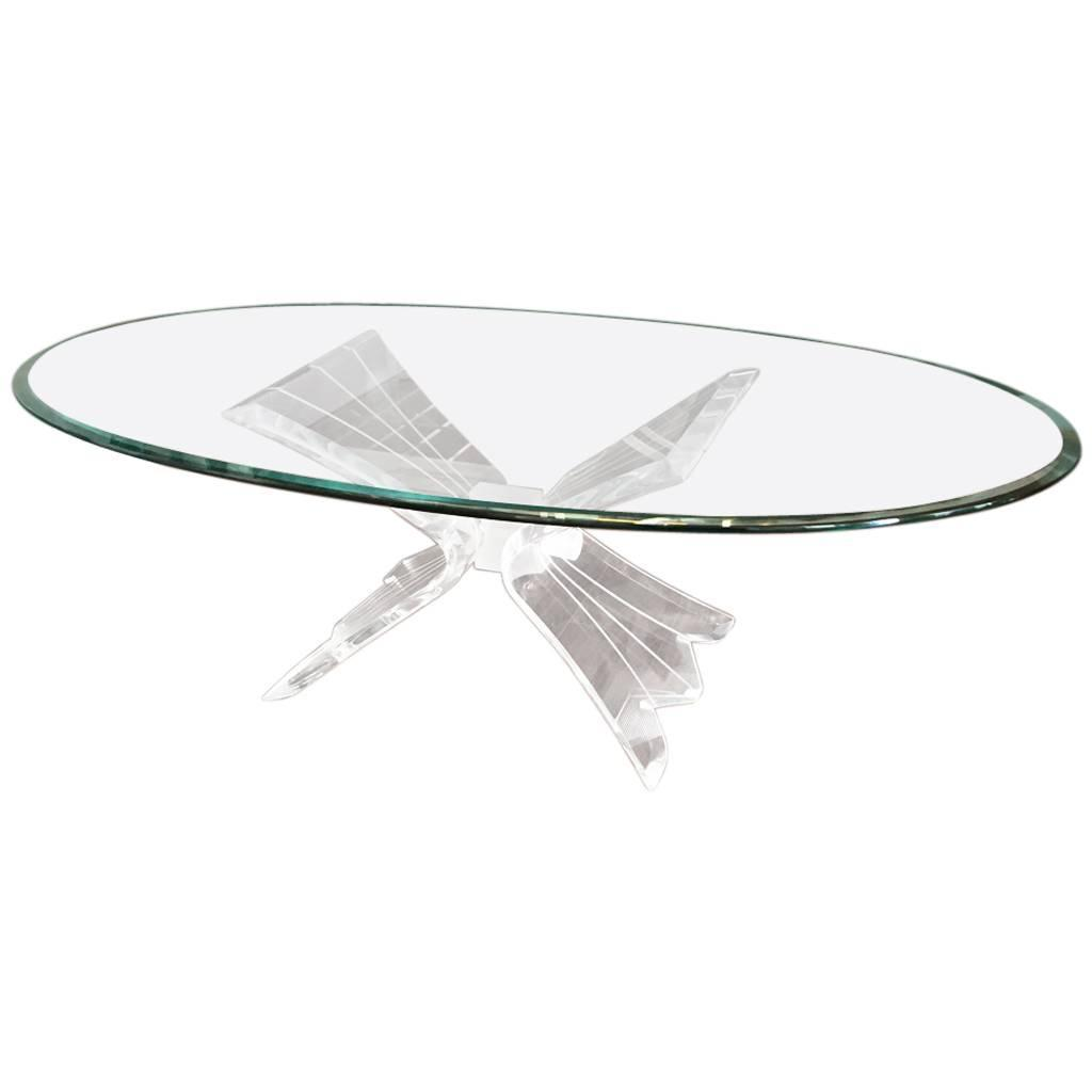 Mid Century Coffee Table With Lucite Base And Glass Top Modernism