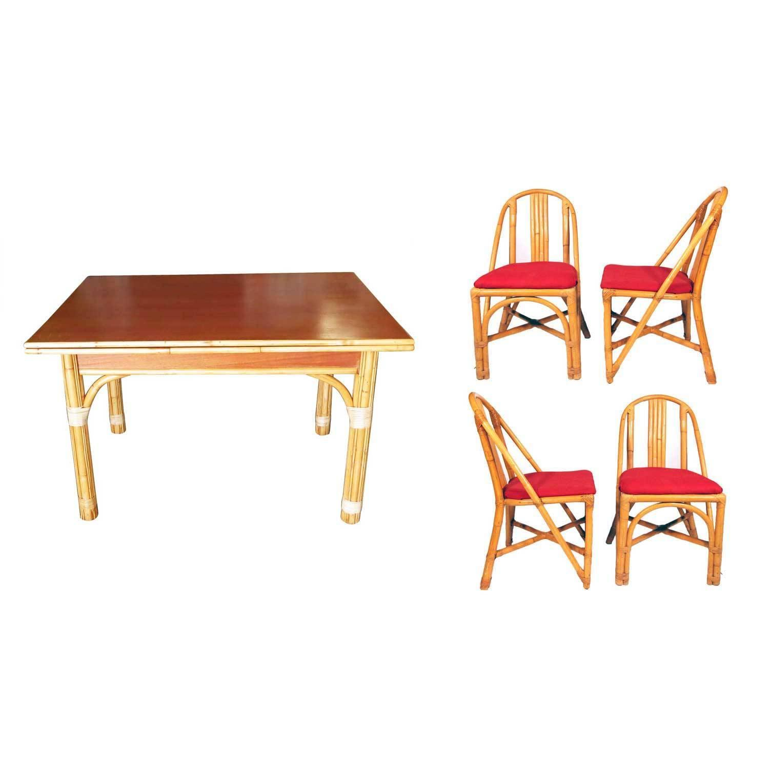 Mid Century Rattan And Mahogany Dining Set Modernism
