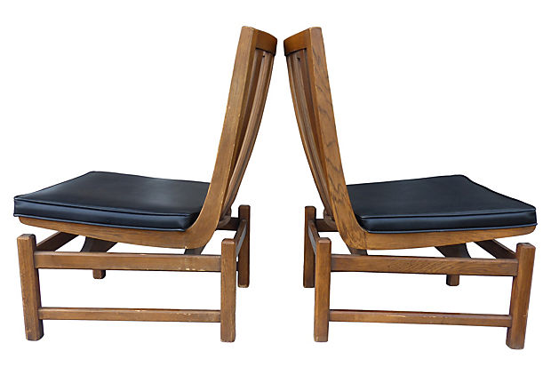 Exceptional Mid Century Modern Slipper Chairs By Lenoir Chair Co.