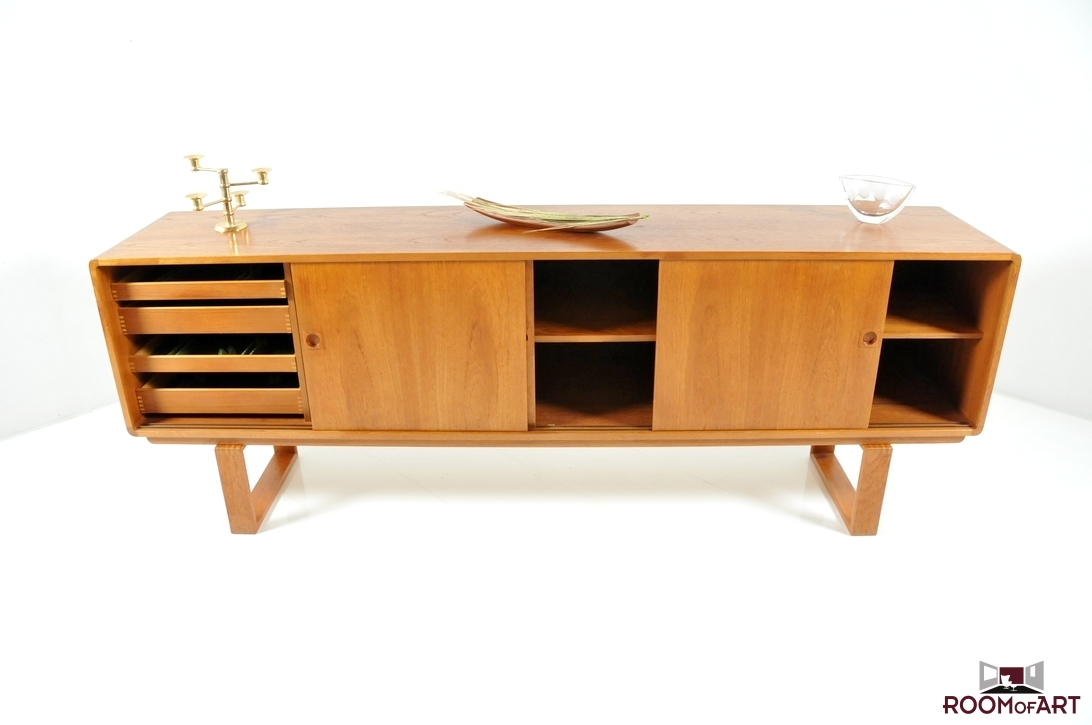 mid century streamline danish teak sideboard modernism. Black Bedroom Furniture Sets. Home Design Ideas