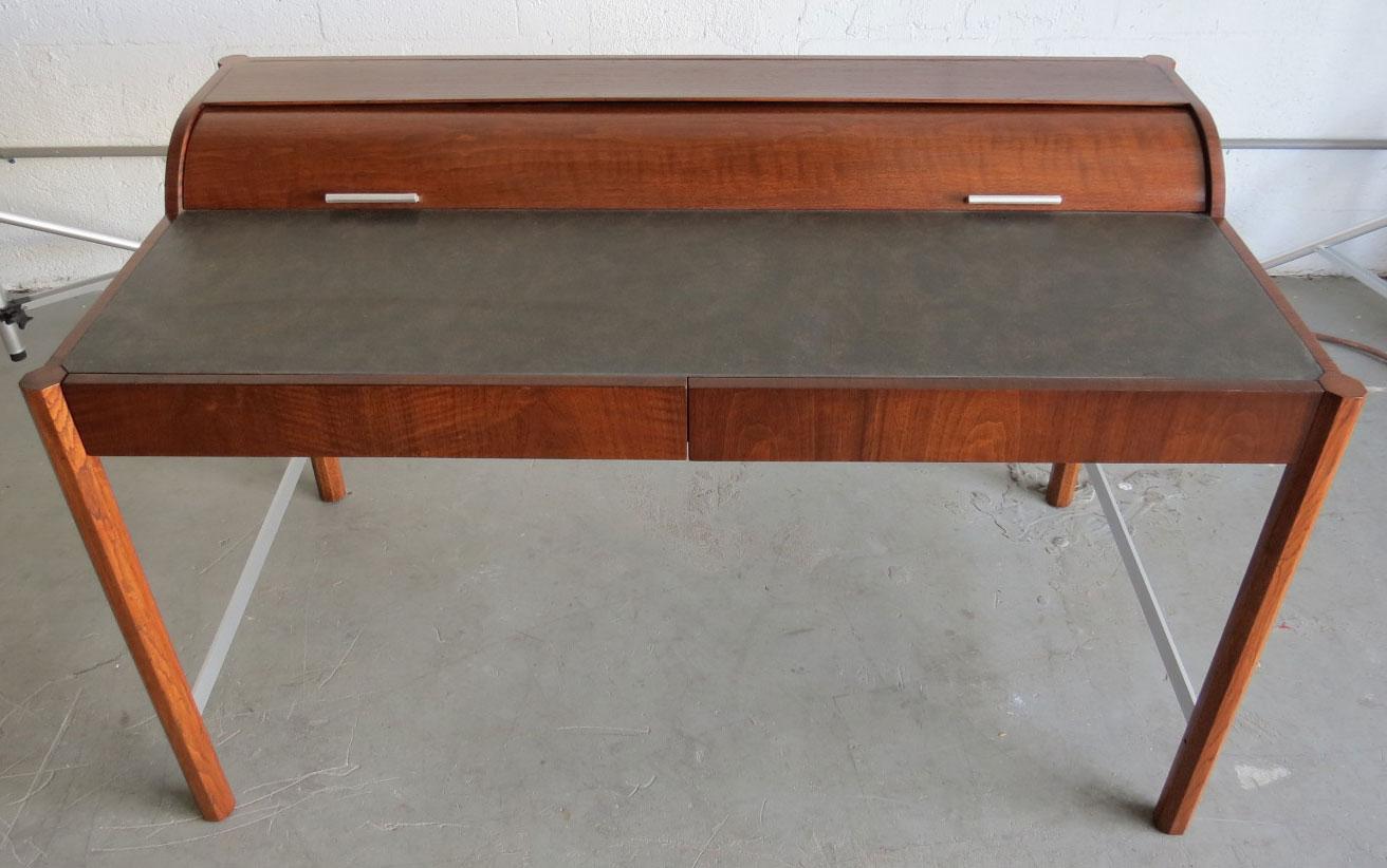 vintage hekman mid century modern desk with cylinder roll