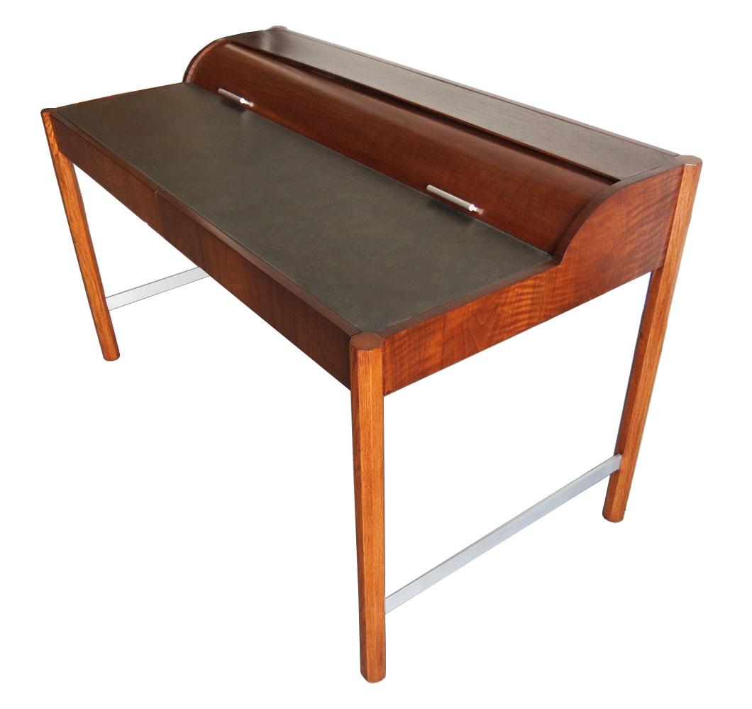 Vintage hekman mid century modern desk with cylinder roll modernism