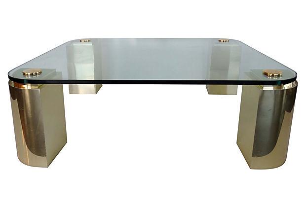 Elegant Polished Brass Glass Coffee Table Modernism