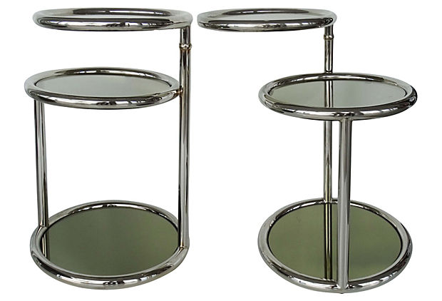 Pair Of Mid Century Modern Chrome Glass Side Tables