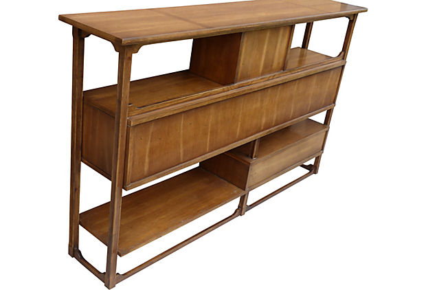 Mid Century Wood Reed Floating Room Divider Console Modernism