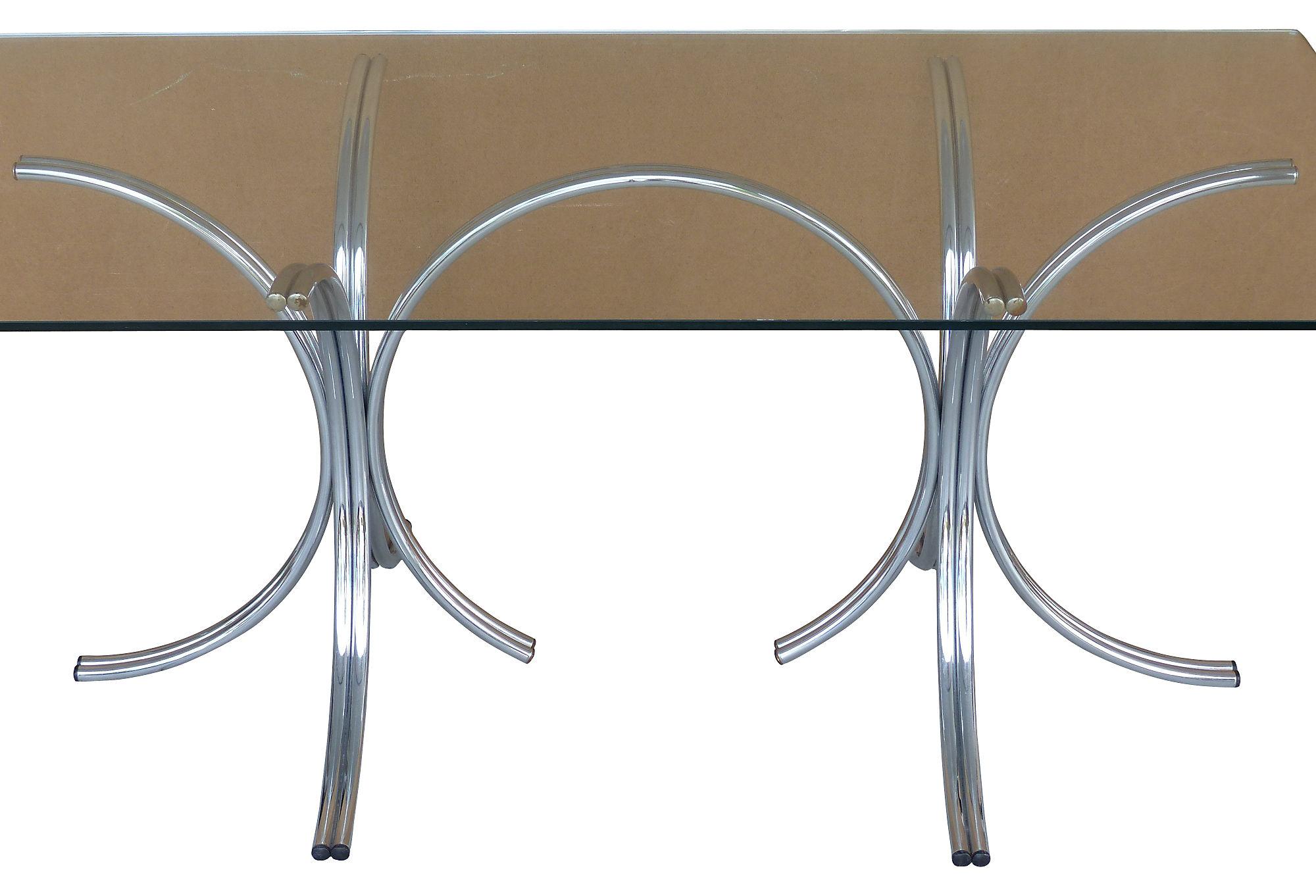 60u0027s Mid Century Modern Tubular Chrome U0026 Glass Dining Table