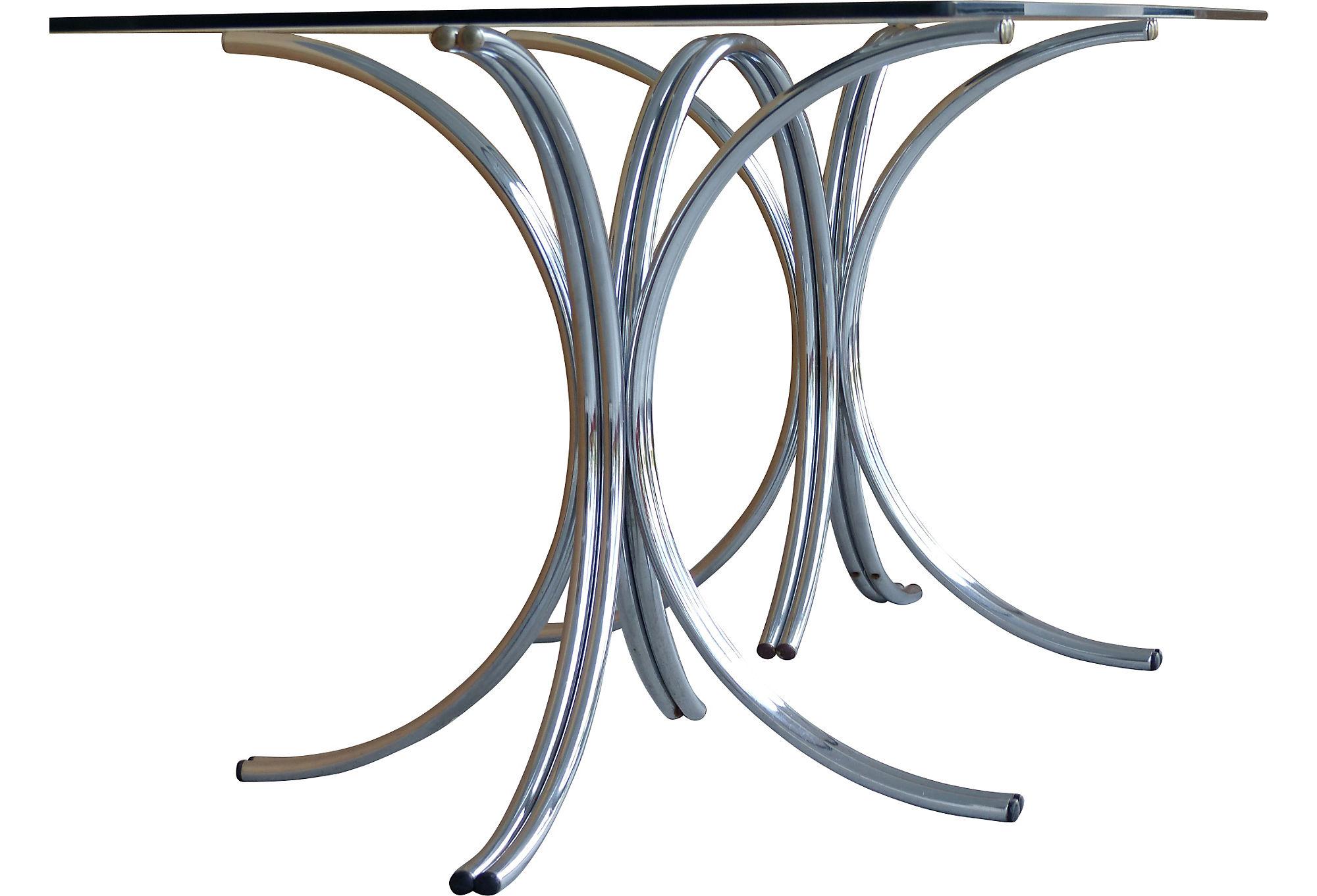60 S Mid Century Modern Tubular Chrome Gl Dining Table