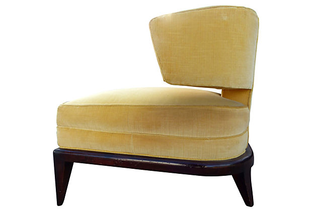 Elegant Mid Century Modern Upholstered Club Chair