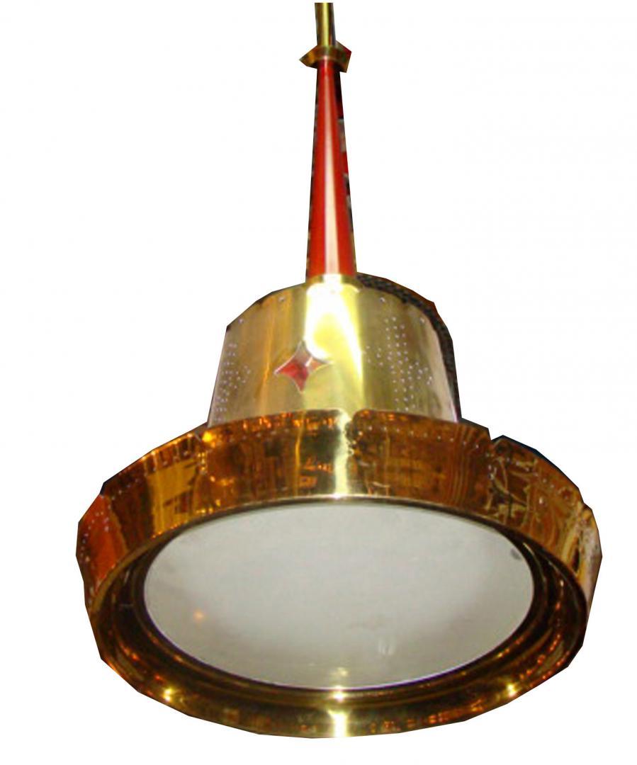 Mid Century Modern Brass Pendant Light Fixture Modernism