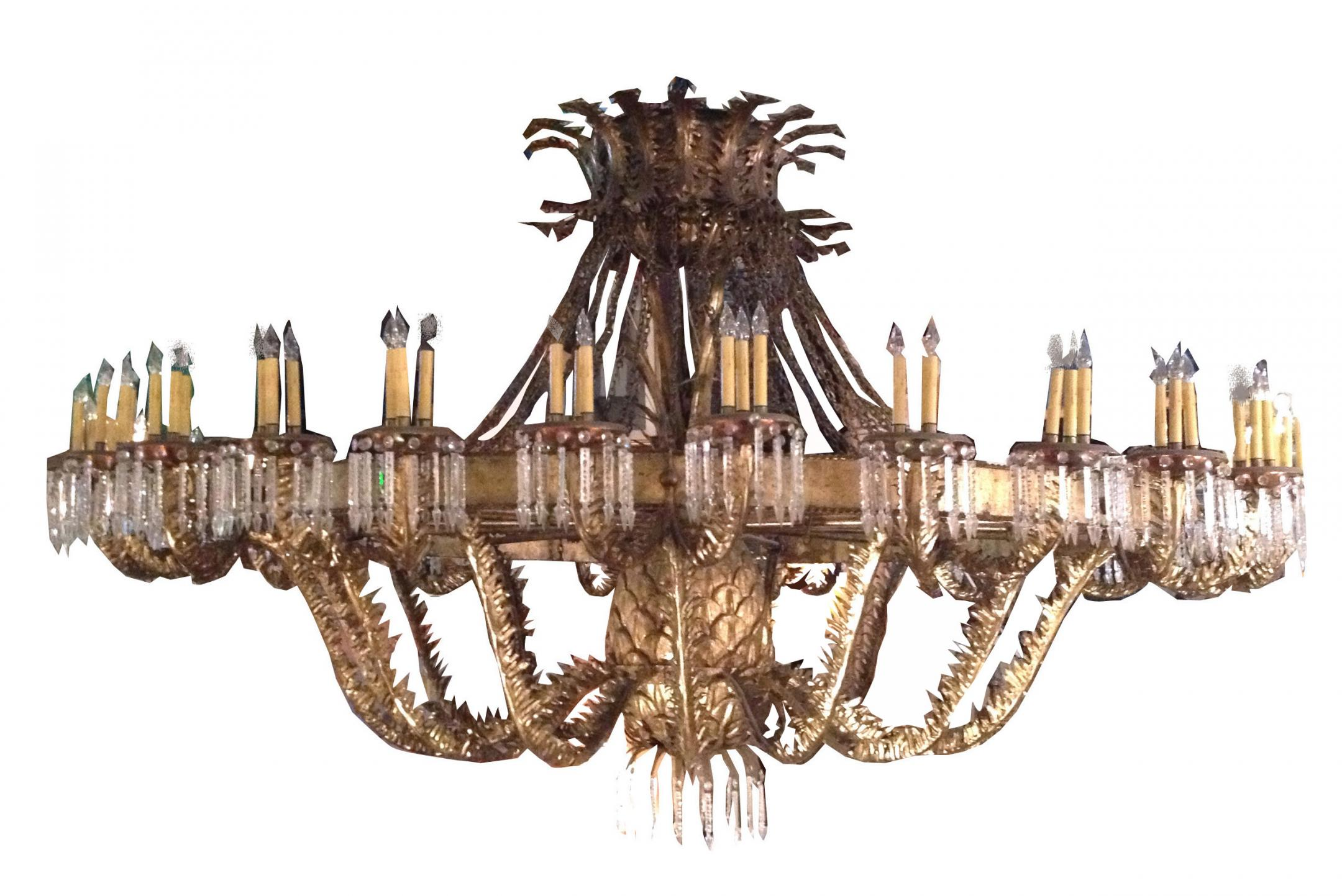 Hollywood Regency Crystal Chandelier Musethecollective