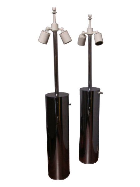 Nessen Lighting Chrome Cylinder Table Lamps Pair C 1970