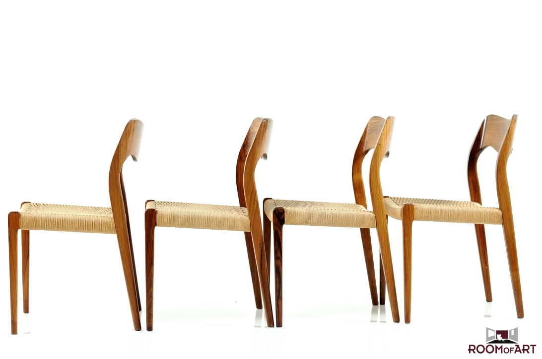 set of 4 dining chairs in palisander by n o möller modernism