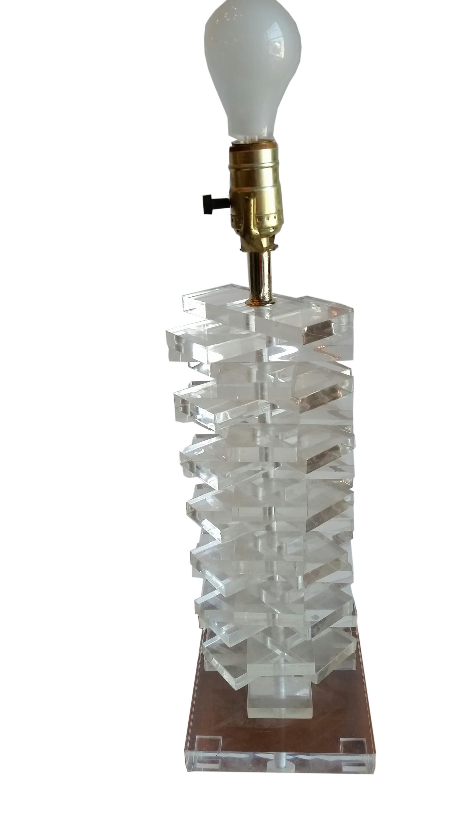 Vintage lucite table lamp stacked rectangles modernism vintage lucite table lamp stacked rectangles geotapseo Images