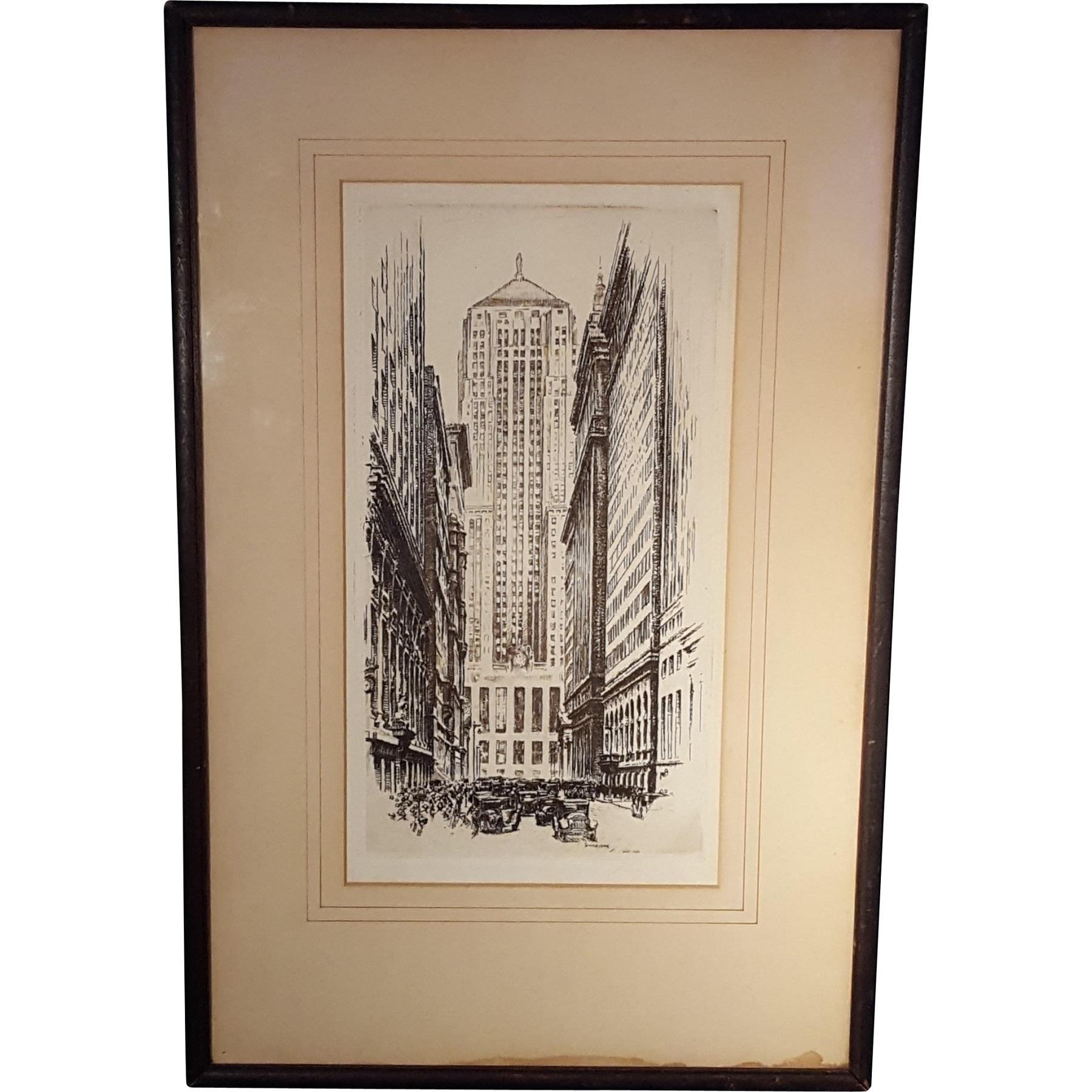 Otto Schneider 1875 1946 Etching Of Chicago Board Of