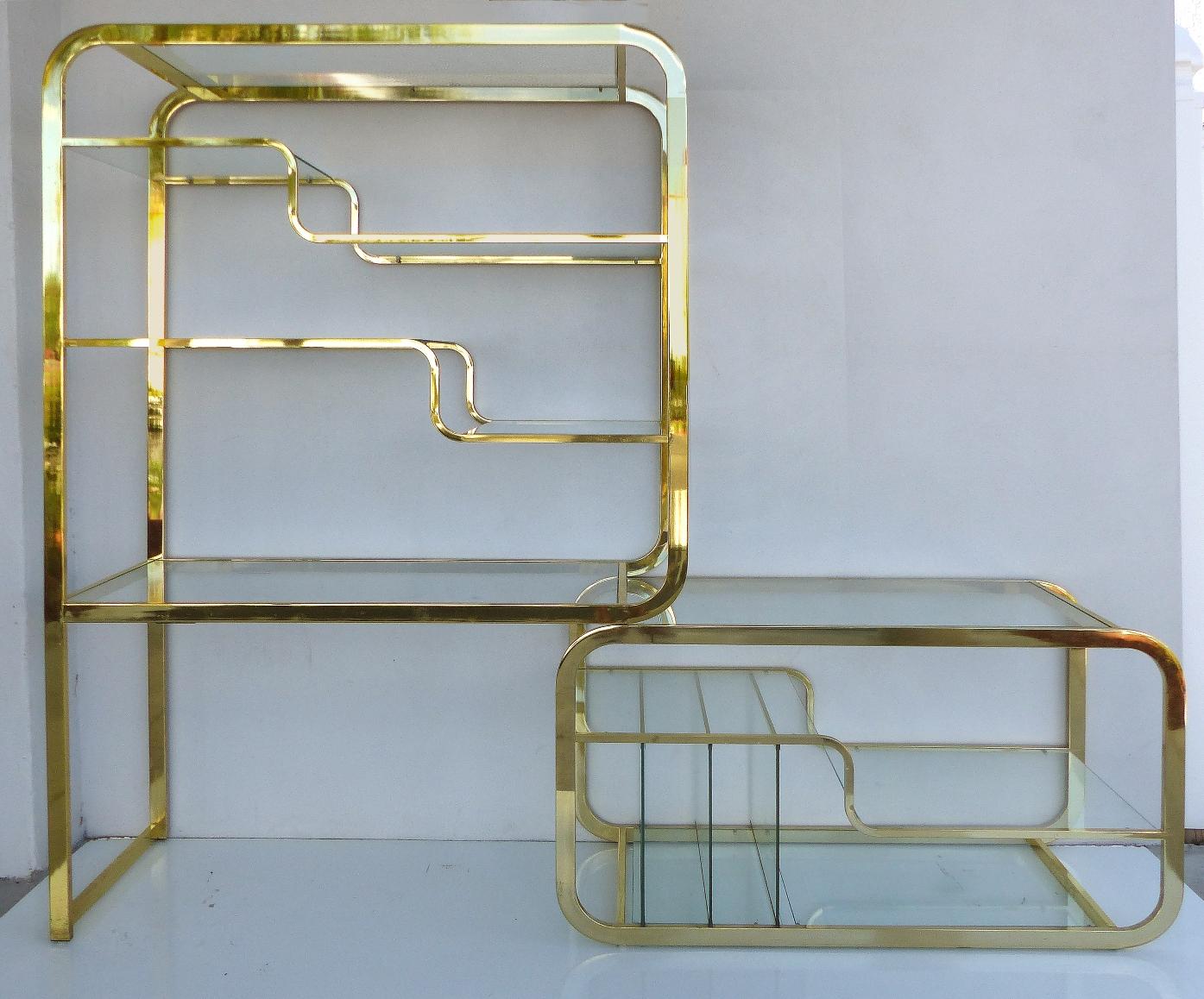 Milo Baughman Mid Century Modern Expandable Brass Etagere
