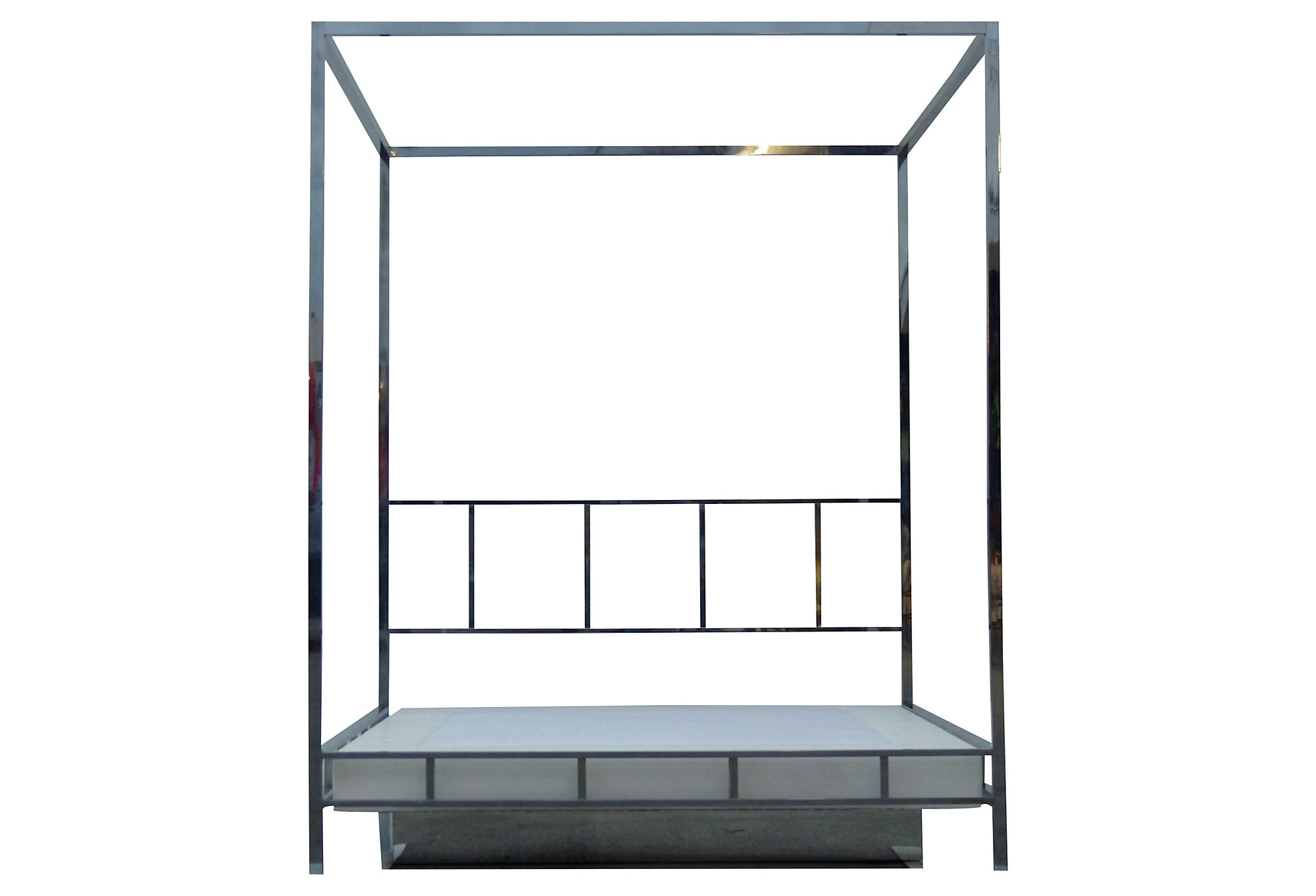 pace chrome queen canopy bed w/ platform | modernism