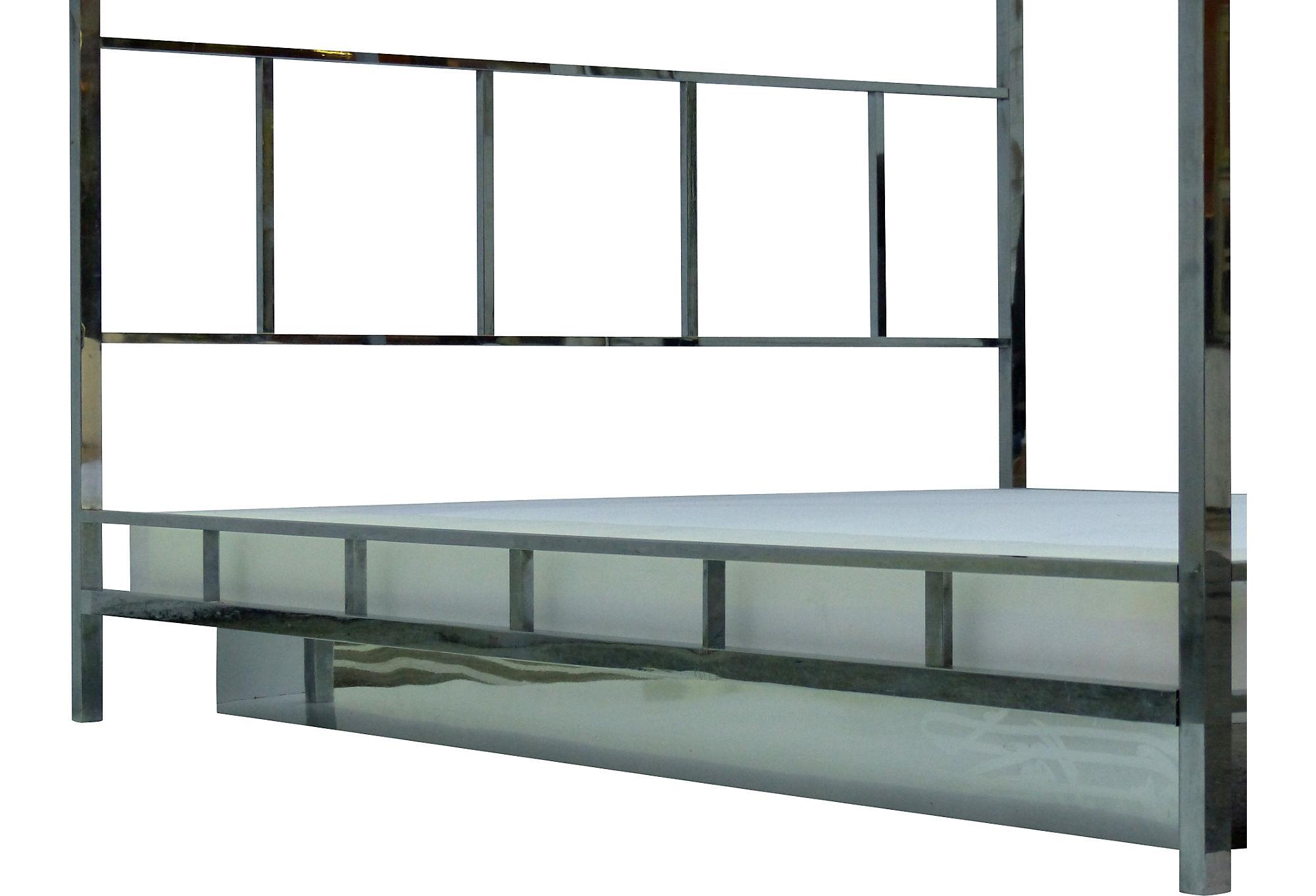 Pace Chrome Queen Canopy Bed W Platform Modernism