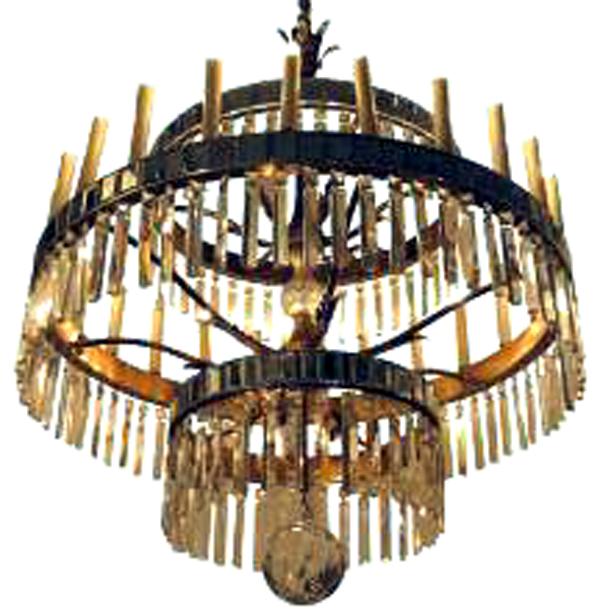 Monumental Hollywood Regency Crystal Bronze Chandelier